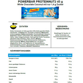 PowerBar Protein Nut2 Riegel Box Milk White Chocolate Coconut 18 x 2 x 22,5g